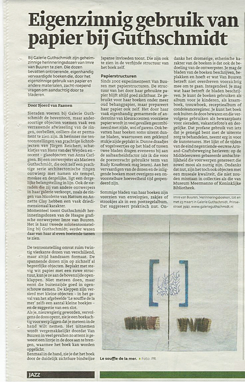 Newspaper The Hague Central, about my exhibition at Guthschmidt Gallery in The Hague